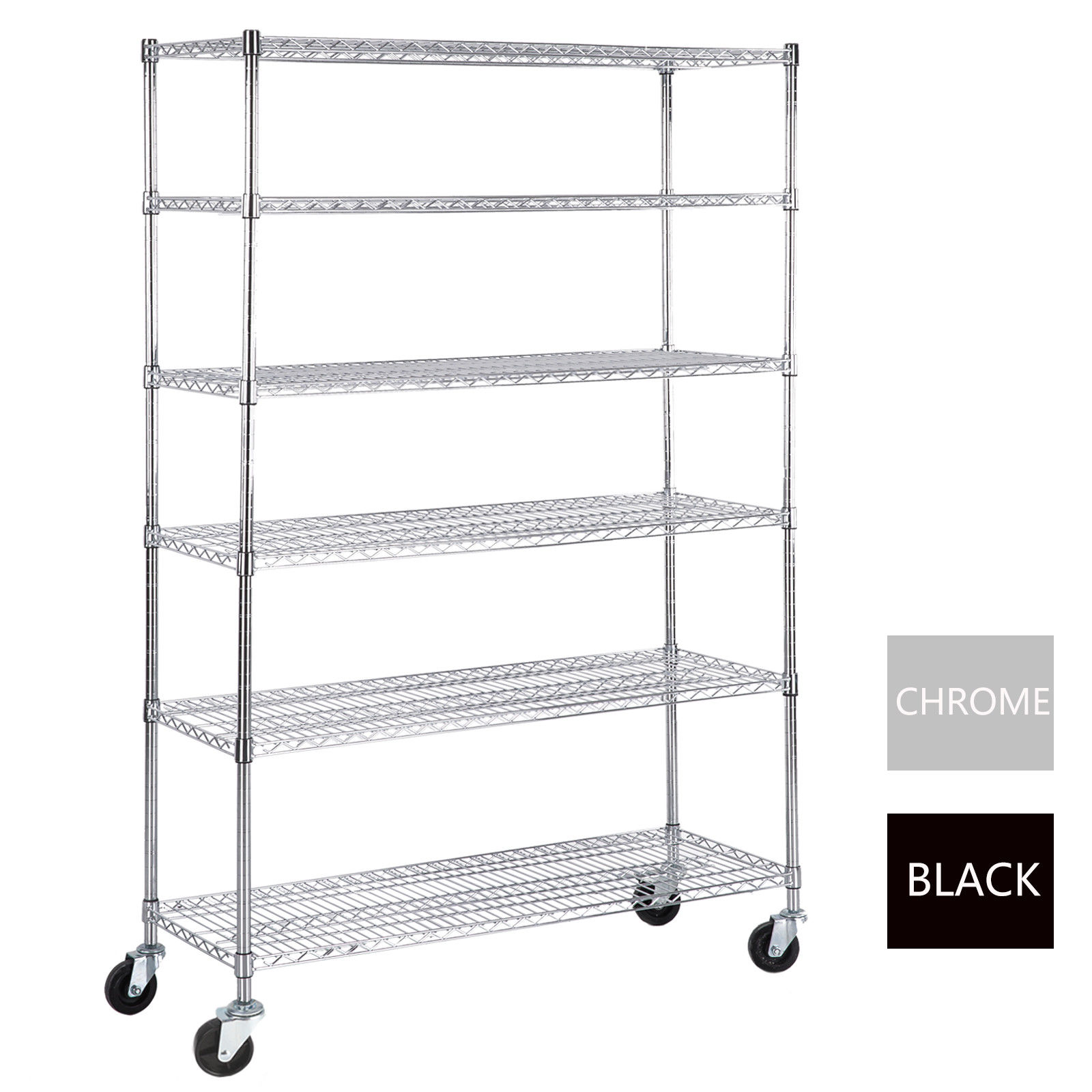 6 Tier Adjustable Wire Shelving Rack 82″x48″x18″ Heavy Duty Layer ...